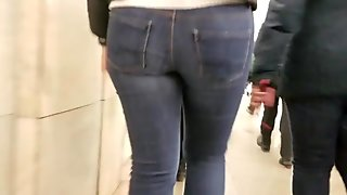 Behind girl's booty tight ass