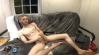 Blond Twink Flint Wolf shoot cum on chest tattoo